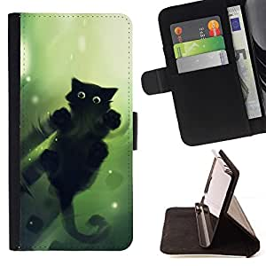 Momo Phone Case / Flip Funda de Cuero Case Cover - Gato Verde;;;;;;;; - Sony Xperia Z5 Compact Z5 Mini (Not for Normal Z5)