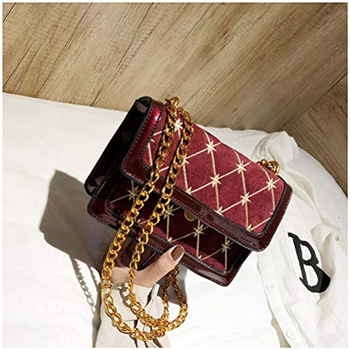 Rombal Korean 2018 Bag rood Line Galon Version Tas Chain Embroidery bruin De Off Messenger Shoulder Wild Woman Y1vcHqwC
