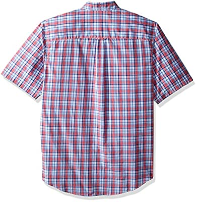 IZOD Men's Tall Breeze Button Down Short Sleeve Plaid Shirt