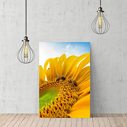 rfy9u7 Wooden Framed Print Canvas Wall Art Square Sunflower Bee Collecting Honey Plant 9060Cm Canvas Print Bedroom Bathroom Decoration ()