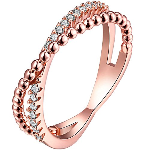 LWLH Jewelry Womens 18k Rose Gold Plated Cubic Zirconia Cz