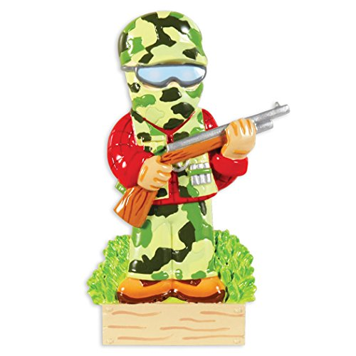 Personalized Camo Hunter Christmas Tree Ornament 2019 - Armed Forces Fighter Military Soldier Gun Fatigues Camouflage Uniform Proud Trooper Brave Serviceman Patriotic USA Year - Free Customization