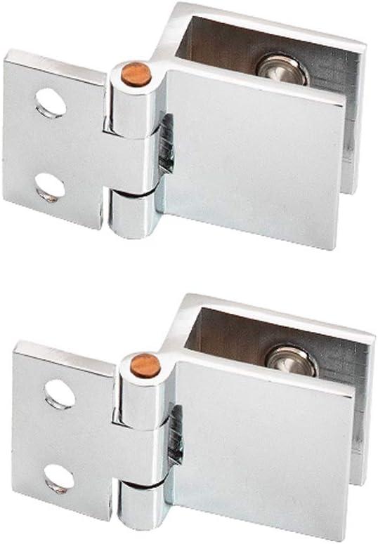 Drenky 2 PCS Bisagra de la abrazadera del clip de la puerta de cristal de 0 grados Sin cristal de perforación a la bisagra de cristal para el grueso de cristal 5m m - 8m m