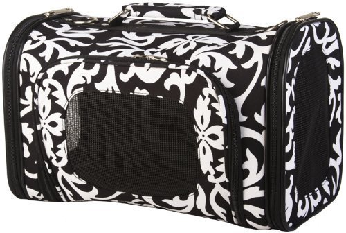 Black White Damask Floral Dog Cat Soft-sided Pet Carrier Small, 14-inch