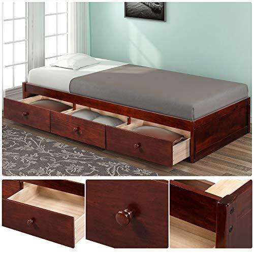 BEIZ & PENZ Solid Wood Bed Platform Storage Bed with 3 Drawers Storage Twin Size (Brown Cherry)