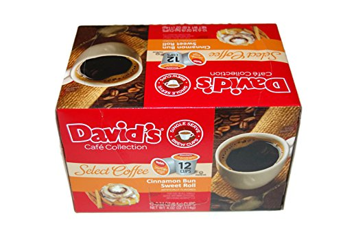 Rolls Sweet Cinnamon (Cinnamon Bun Sweet Roll Coffee-David's Cafe-12 single serve brew cups)