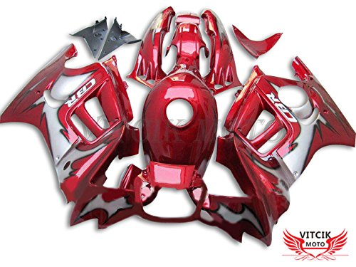 VITCIK (フェアリングキット 対応車種 ホンダ Honda CBR600F3 CBR600F 1995 1996 CBR600 F3 95 96) プラスチックABS射出成型 完全なオートバイ車体 アフターマーケット車体フレーム 外装パーツセット(レッド) A015   B076M5LBJF