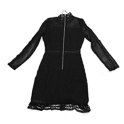ROSEBULLET Elegant Lace Dress Sleeve Fabric Long Ladies Mock Short MYSUPERSTORE Black Neck Women Milk X4xFYwXqr