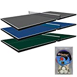 Martin Kilpatrick Table Tennis Conversion Top – Pool Table Ping Pong Top – Choose Blue, Green, or Grey Colors – Optional Ping Pong Paddle Set – Net Set and Protection Pads Included – 3 Year Warranty Ping Pong Table Topper