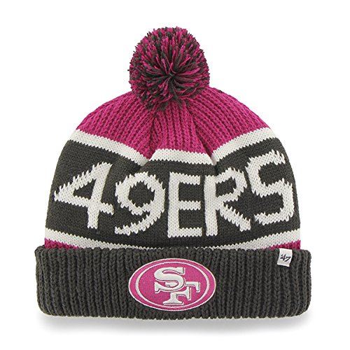 """47 Brand Magenta/Pink """"Calgary"""" Beanie Hat with Pom - NFL BCA Cuffed Winter Knit Toque Cap (San Francicso 49ers)"""