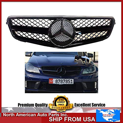 Mercedes-Benz W204 C-Class all black grille 2008 209 2010 2011 2012 2013 2014 C200 C250 C300 C350 4/2 door with star emblem glossy.