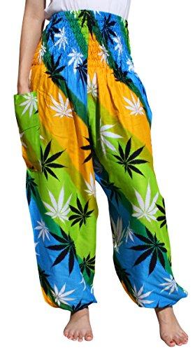 Raan Pah Muang Women's Smocked Waist Rayon Printed Summer Harem Baggy Boho Pants, Large, Hemp Leaves - Orange Green