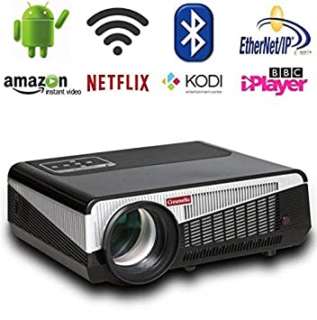 Gzunelic 4500 lumens Android Wifi 1080p Video Projector LCD LED Full HD Theater Proyector with Bluetooth Wireless Synchronize to Smart Phones by Airplay or Miracast Ideal for Home Entertainment