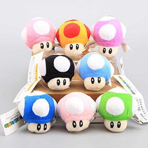 Super Mario Bros Toad Mushroom 3 Inch Toddler Stuffed Plush Kids Toys 8 Pcs/set (Mario Stuffed Animals Mushrooms)