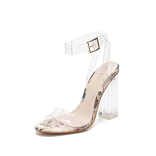 8c8ebdec98e MACKIN J G349-1 Transparent Open Toe Ankle Strappy Block Chunky Heel  Sandals with TPU Clear Plastic