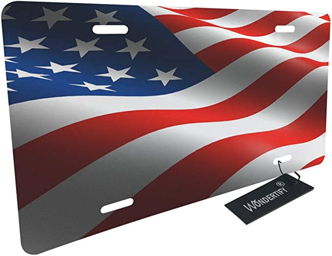 Aluminum Novelty License Plates,Decorative Car Front License Plate Vanity Tag XUANY American Flag Flower 12x6 Inch License Plate Cover