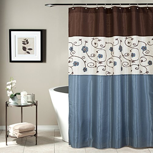 Lush Decor Royal Garden Shower Curtain | Fabric Floral Color Block Stripe Neutral Bathroom Decor, 72