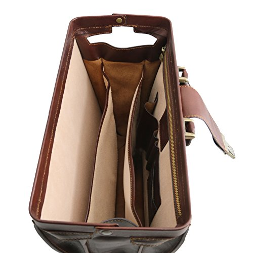 81413474 - TUSCANY LEATHER: CANOVA (N) Mallette medicale Porte ordinateur en cuir avc 3 compartiments, marron