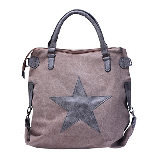 Jagenie Shopping Bag Canvas Shoulder Messenger Tote Travel Bags Bat Print Star Army Green Khaki