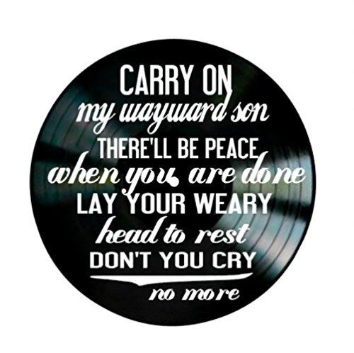 Wayward Son song lyrics by Kansas and Supernatural theme song on a Vinyl Record Album Wall Art by VinylRevamped