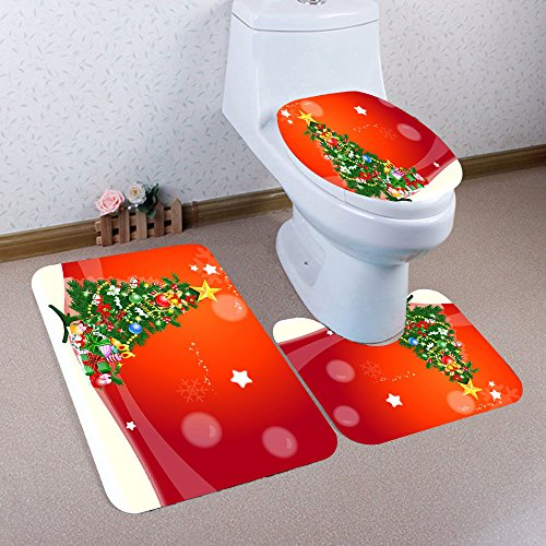 Fenebort Christmas Decoration Non Slip Rug Doormats 3PCS Chr
