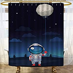 Amazon.com: Space Wide Shower Curtain Customized Astronaut ...