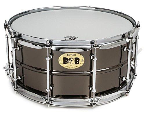 Pork Pie Snare Drum Black Nickle Plated Snare Drum with Chrome Tube Lugs by Pork Pie