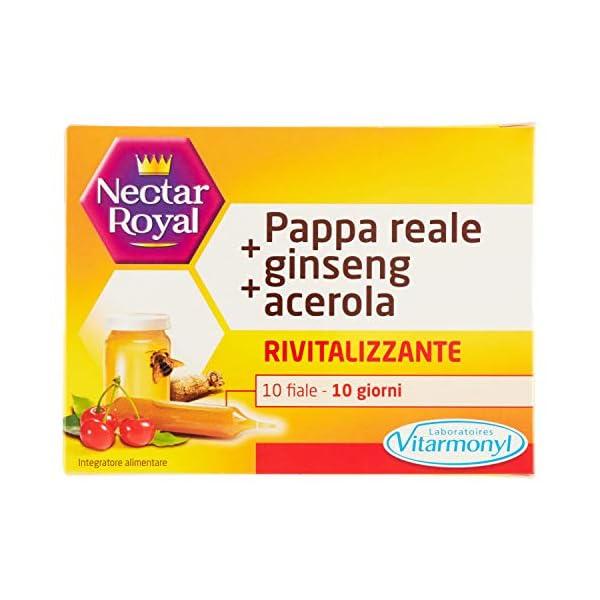 NECTAR ROYAL PAPPA REALE + GINSENG + ACEROLA Vitarmonyl • Integratore 10 fiale • Rivitalizzante • Registrato Ministero…