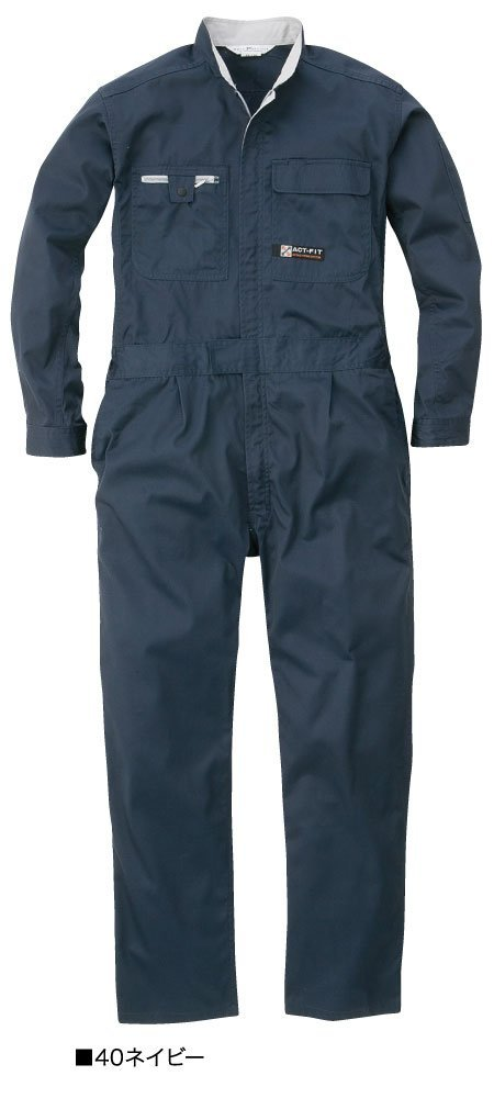 [丸鬼]ROUND ONI[ツナギ服]0eko-tex 豊富なカラー サイズ 人気の定番 制電生地 中厚手 通年 長袖続服(023-PS-120EK) B01GQSG5LC 4L|40-ネイビー