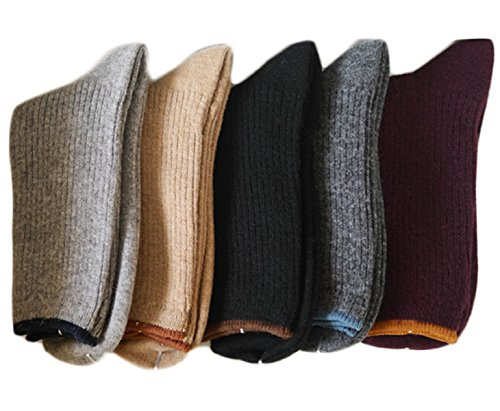 Cashmere Blend Crew Socks (Lovely Annie Women's 3 Pairs Wool Blend Crew Socks HR1612 Casual Solid Size 6-9 (Black, Dark Grey, Grey))