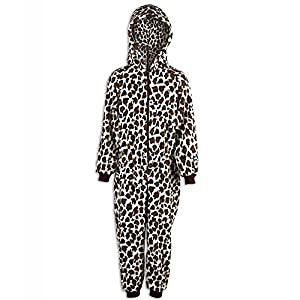 Camille Childrens Unisex Snow Leopard Print All In One Pyjama Onesie