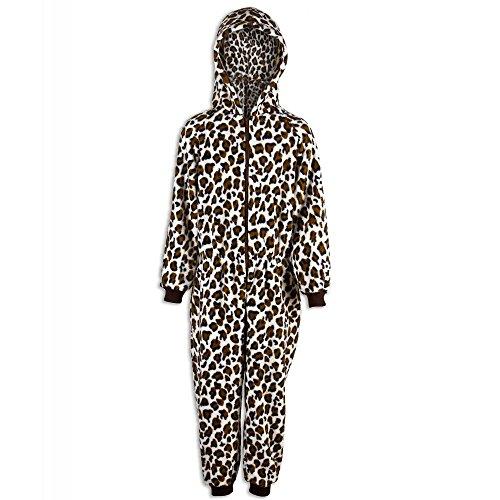 Camille Childrens Unisex Snow Leopard Print All In One Pyjama Onesie 9-11 Years -