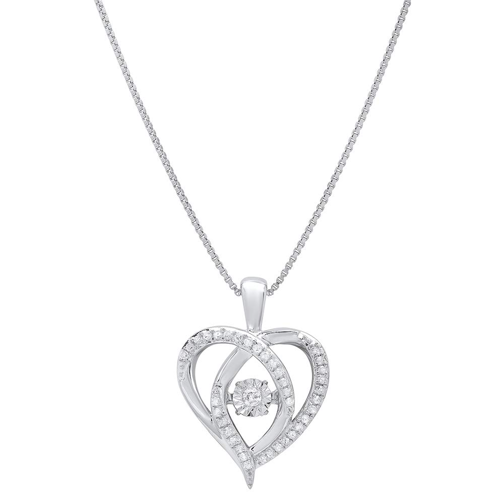 Sterling Silver Dancing Diamond Heart Pendant Necklace (1/6 cttw, I-J Color, I1-I2 Clarity), 18''