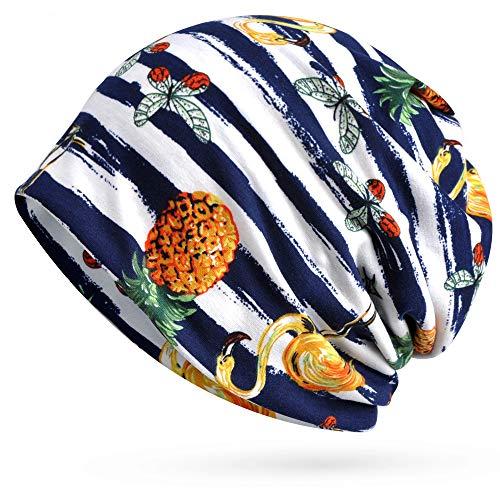 (Glamorstar Womens Beanie Hat Chemo Cap Stretch Slouchy Turban Headwear Pineapple Stripes)