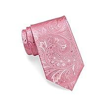 Hugo Boss Men's Tonal Paisley Silk Tie, OS (Open Pink)