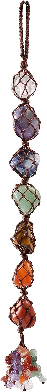 VadiForest 7 Chakra Gemstone Reiki Healing Crystals Hanging Ornament Tumbled Palm Stones Tassels Fengshui Home Indoor Decoration for Good Luck Yoga Meditation Protection