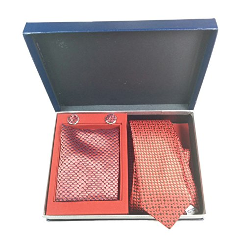 Wedding Set Pattern Fashion Included TUR22 Milano William Different Navy Handkerchief 23 With Cufflink Tie Charles Set Exclusive Red and By Gift Designs Business Sets Box Eq0PZF