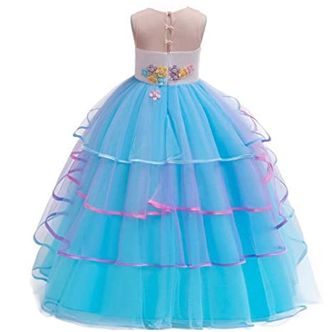Maxi Vestido De Tul De Princesa Con Unicornio Para Niñas