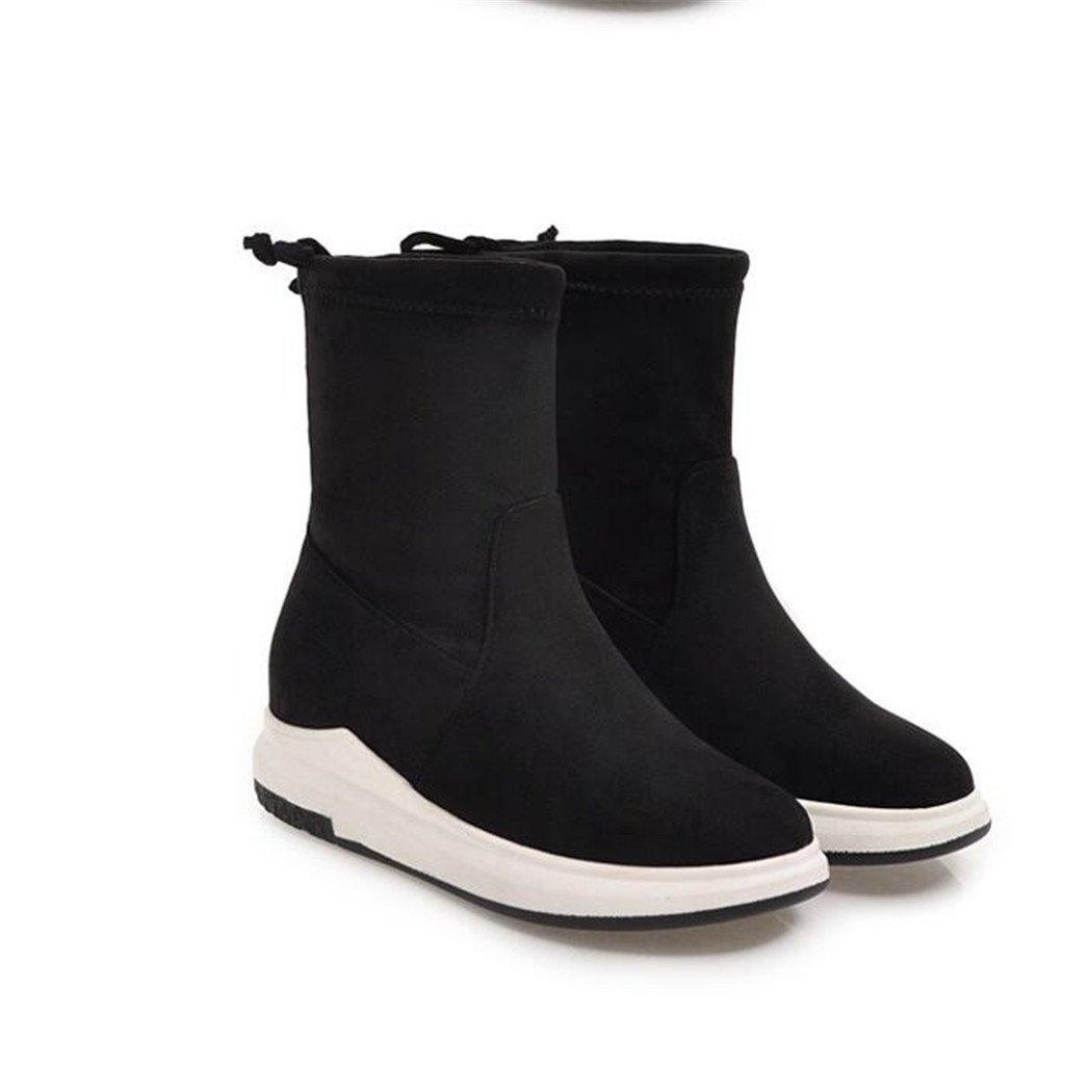 ZQ@QX Kopf Herbst und Winter runden Kopf ZQ@QX dick mit einer Zunahme der Steigung von Boden, Luft, kurze barrel Stiefel weibliche Stiefel schwarz a72998