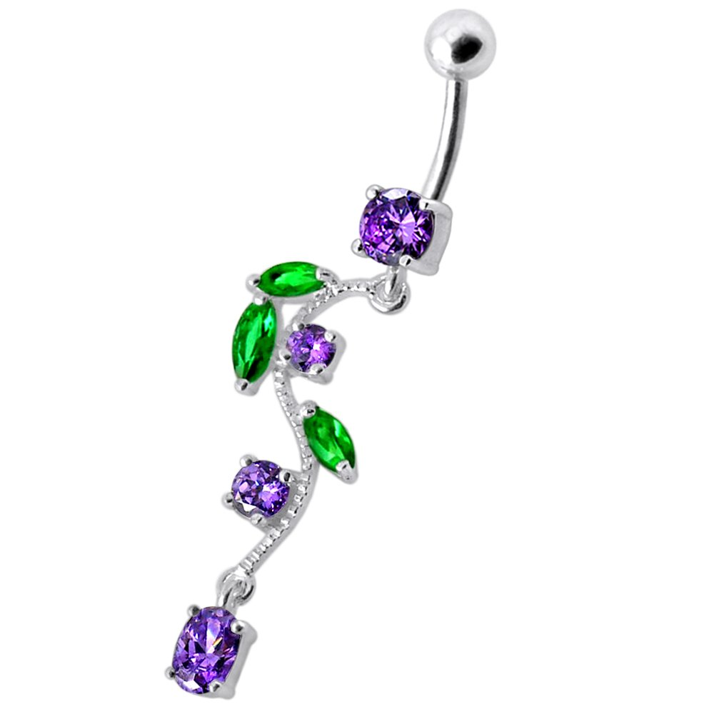 CZ Crystal Gemstone Stylish Floral Leaf Dangling 925 Sterling Silver Belly Ring Body Jewelry