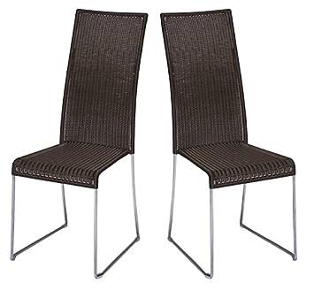 Ploß 2x Poly Rattan Stuhl Hochlehner Java Stuhlgruppe Set Esszimmer