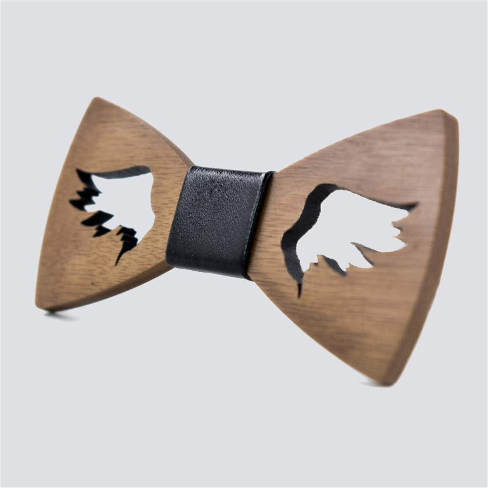 Neck Bowtie Carved Wings Beard Tie in Hollow Out Design Wooden Knot Tie Wedding Gentleman Fashion Accessory Color : A