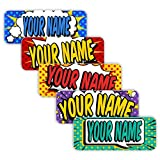 Original Personalized Peel and Stick Waterproof Custom Name Tag Labels for Adults, Kids, Toddlers, and Babies – Use for Office, School, or Daycare (Popart Theme)
