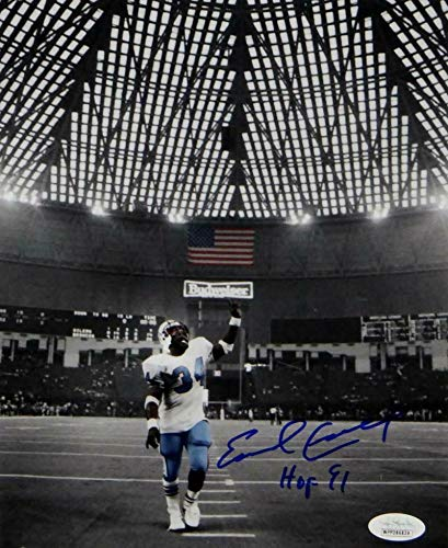 Campbell Autographed Photo - Signed Earl Campbell Photo - 8x10 Pointing W HOF W Auth *Blue - JSA Certified - Autographed NFL Photos
