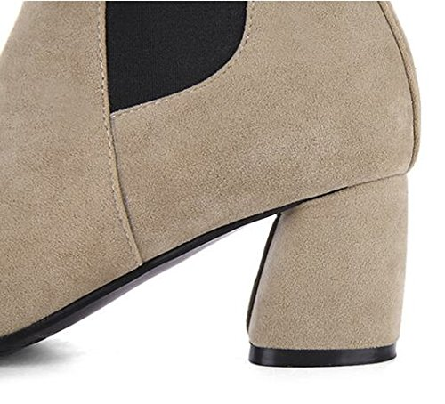 Boots Chunky Women Pointy Booties Elastic Toe QZUnique Surface Suede Ankle Panel Heel Martin with Slip Beige HF6Rqw