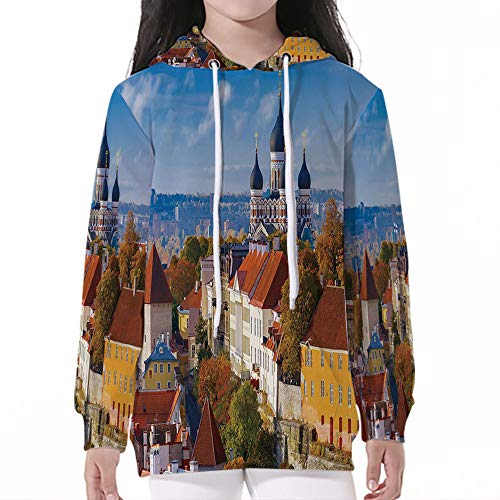 iPrint Baby SweatshirtPullover Hooded,Modern,Toompea Hill with Historical Tower Russian - Hill Chenille Blanket