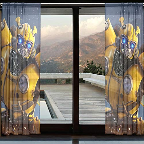 - NICSWINGOO Bumblebee Transformers Movie Cool Warrior Personality Sheer Curtains Voile Drapes French Window for Living Room Bedroom Drapery Window Same Pattern (2 Panels Each 110x55 inch)