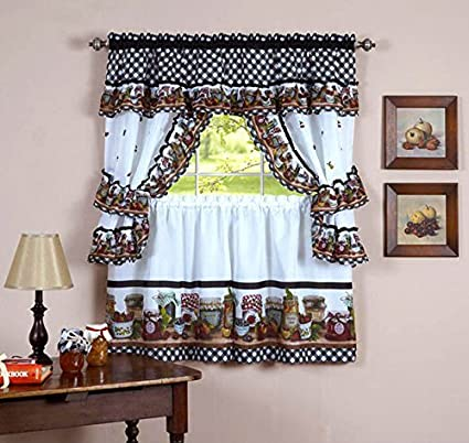 Naturally Home Mason Jars Kitchen Curtain Cottage Set, Tiers And Ruffled  Swag, 36