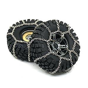 4PCS Metal Anti-Skid Snow Chains Tire Chains For Traxxas TRX-4 1/10 RC Crawler
