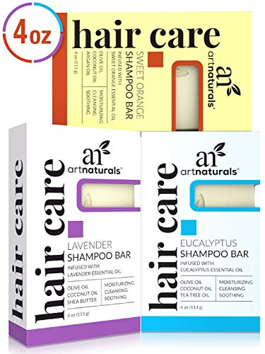 (ArtNaturals Shampoo Bar 3 Piece Set - All Natural - Eucalyptus, Lavender and Orange - Solid Soap for Oily and Dry Hair, Dandruff and Curly Hair - Sulfate Free - Organic Ingredients for Sensitive Skin)